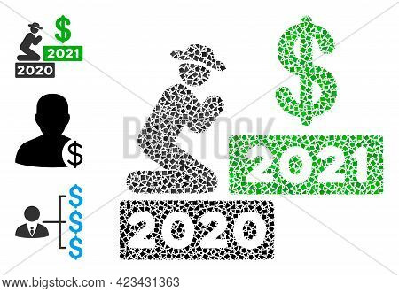 Mosaic Gentleman Pray Dollar 2021 Icon Composed Of Joggly Pieces In Variable Sizes, Positions And Pr