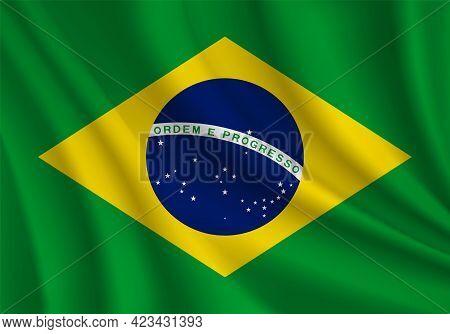 Brazilian Realistic Wavy Flag Illustration Vector. Flag Of Brazil