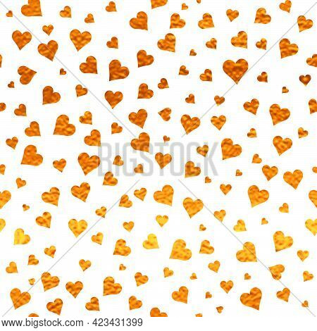 White And Gold  Pattern. Abstract Sparkle Modern Background With Golden Hearts. Vector Illustration.