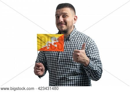 White Guy Holding A Flag Of Butane And Shows The Class By Hand Isolated On A White Background. Like