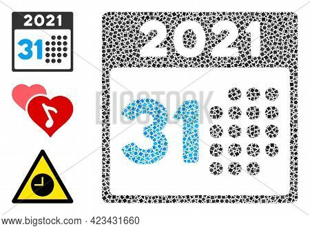 Mosaic Last 2021 Day Icon Composed Of Unequal Spots In Variable Sizes, Positions And Proportions. Ve