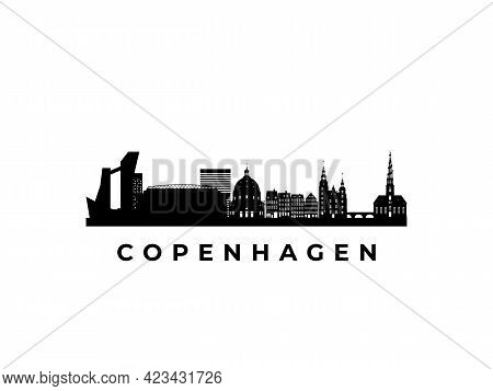 Vector Copenhagen Skyline. Travel Copenhagen Famous Landmarks. Business And Tourism Concept For Pres