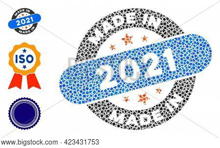 Mosaic Made In 2021 Stamp Icon Organized From Trembly Pieces In Various Sizes, Positions And Proport