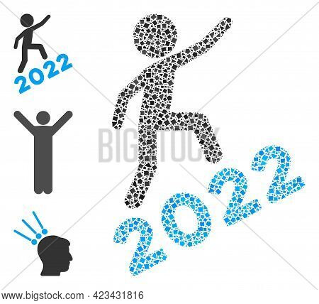 Mosaic Man Climbing 2022 Icon Organized From Tremulant Pieces In Variable Sizes, Positions And Propo