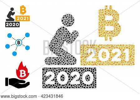 Mosaic Man Pray Bitcoin 2021 Icon Composed Of Tuberous Parts In Various Sizes, Positions And Proport