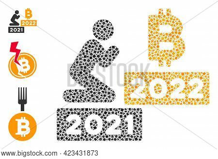 Mosaic Man Pray Bitcoin 2022 Icon Constructed From Joggly Parts In Variable Sizes, Positions And Pro