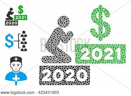 Mosaic Man Pray Dollar 2021 Icon United From Rugged Items In Various Sizes, Positions And Proportion