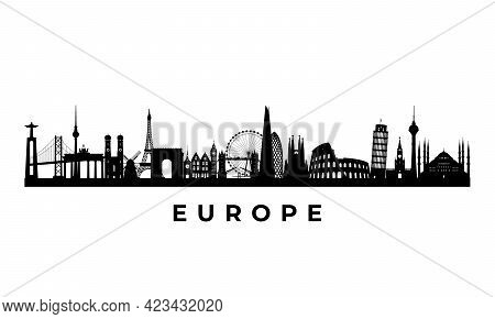 Vector Europe Skyline. Travel Europe Famous Landmarks. Business And Tourism Concept For Presentation