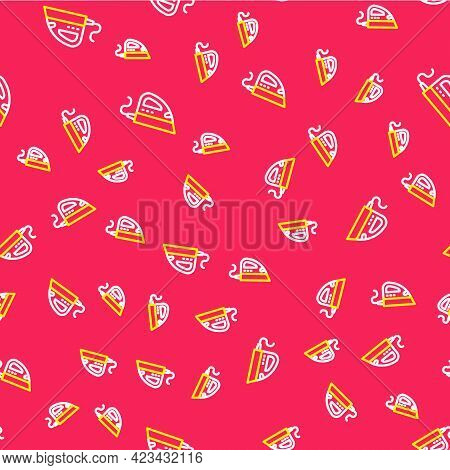 Line Electric Iron Icon Isolated Seamless Pattern On Red Background. Steam Iron. Vector