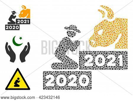 Mosaic Pray Golden Bull Year Icon Designed From Abrupt Elements In Various Sizes, Positions And Prop