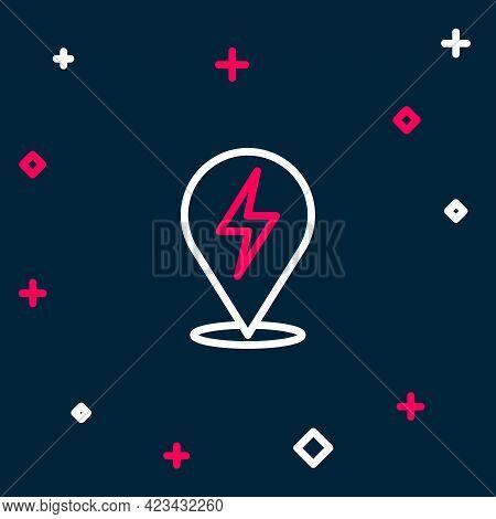 Line Lightning Bolt Icon Isolated On Blue Background. Flash Icon. Charge Flash Icon. Thunder Bolt. L