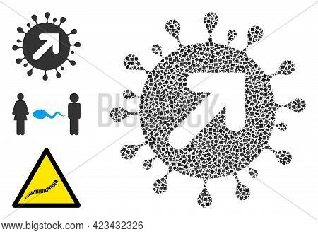 Mosaic Virus Vector Icon Designed From Raggy Elements In Variable Sizes, Positions And Proportions.