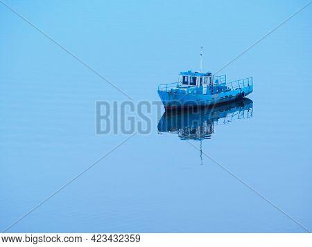 Lone Boat Anchored In The Bay, Evening On The River, Countryside. Tashkirmen Village, Miosha River,