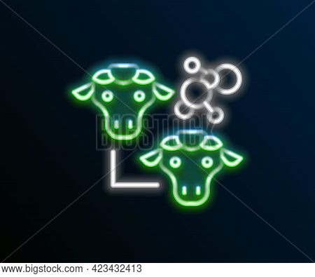 Glowing Neon Line Cloning Icon Isolated On Black Background. Genetic Engineering Concept. Colorful O
