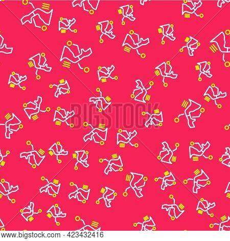 Line Prosthesis Hand Icon Isolated Seamless Pattern On Red Background. Futuristic Concept Of Bionic