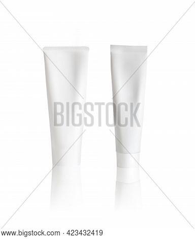 Cream Tube Mockup On White Background. Tube Packaging Mock Up. Vector Illustration.