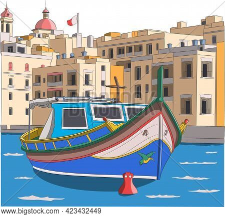 Malta. The Colorful Traditional Fishing Boat Luzzu Against The Backdrop Of The City Of Valletta.