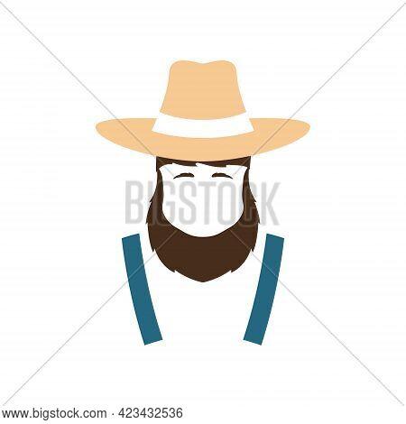 Simple Avatar Farmer Icon. Man In Suspenders And Farm Hat. Stock Vector Illustration.