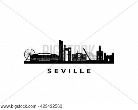 Vector Sevilla Skyline. Travel Sevilla Famous Landmarks. Business And Tourism Concept For Presentati