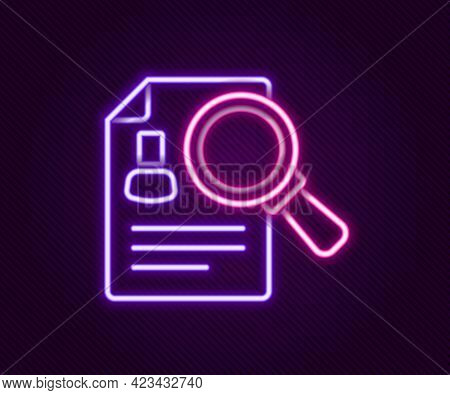 Glowing Neon Line Document, Paper Analysis Magnifying Glass Icon Isolated On Black Background. Evide