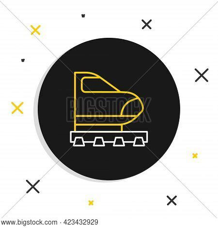 Line High-speed Train Icon Isolated On White Background. Railroad Travel And Railway Tourism. Subway