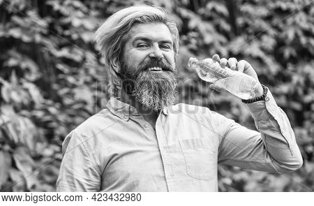 Pleasant Morning Routine. Daily Intake Of Water. Thirsty Male Model Enjoying Refreshing Drink. Healt
