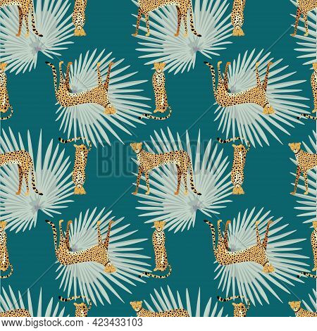 Seamless Pattern With Hand Drawn Exotic Leopards And Cheetahs, With Tropical Leaves On Dark Turquois