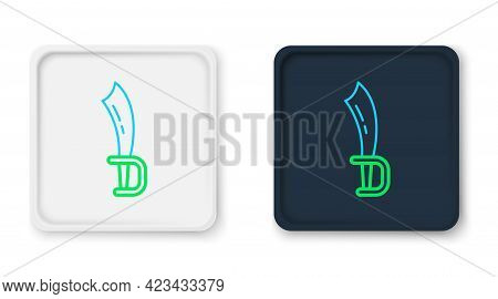 Line Pirate Sword Icon Isolated On White Background. Sabre Sign. Colorful Outline Concept. Vector