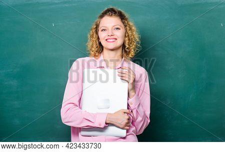 School Lecturer Explaining Topic. Teaching Informatics. Back To School. Woman Adorable Teacher Hold