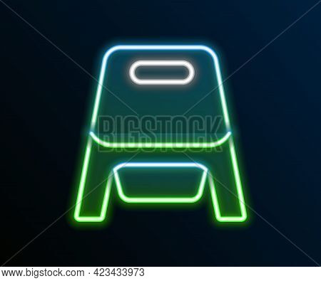 Glowing Neon Line Baby Potty Icon Isolated On Black Background. Chamber Pot. Colorful Outline Concep