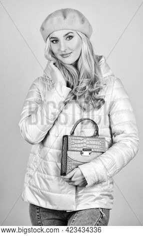 Stylish Accessories. Fashionable Woman In Jacket. Spring Fashion. Female Wear Beret. Handbag Or Purs