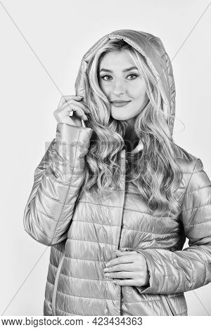 Portrait Of Beautiful Girl In Hood. Stylish Woman In Casual Style. Clothes Shop Fashion. Express Con