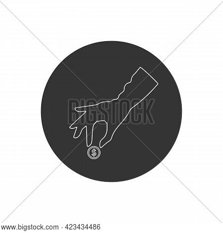 Pictograph Of Money In Hand. Vector Line Icon. Womans Hand Giving Money