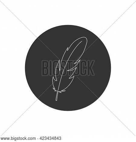 Feather Vector Line Icon Isolated On White Background