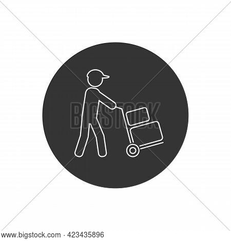 Mover Pushing Moving Hand Truck Or Dolly With Boxes Flat Vector Line Icon For Apps And Websites