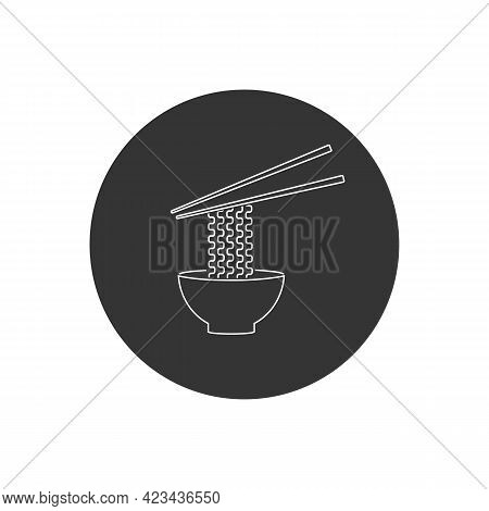 Ramen Noodle Soup Bowl With Chopsticks Flat Vector Line Icon For Food Apps And Websites