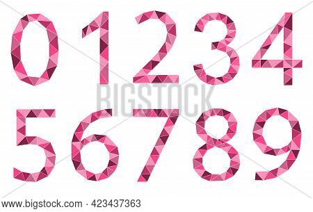 Set Of Pink Numbers Polygon Style Isolated On White Background. Learning Numbers, Serial Number, Pri