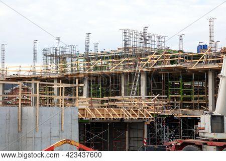 Construction Site Scaffolding Building Development In Progress