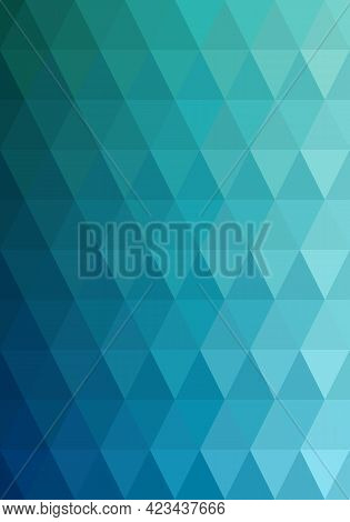 Triangle Shape Pattern Ocean Blue Gradient. Abstract Background. Texture Design For Publications, Co