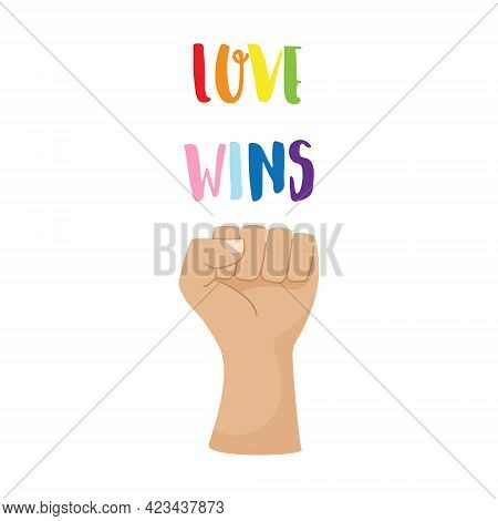 A Postcard, A Poster With Colorful Words Love Will Win. Lgbt Rainbow Colors. Pride Month Concept. Cl