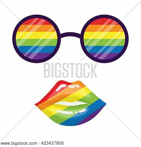 Round Glasses With Rainbow Lenses And A Slightly Open Mouth With Sexy Plump Lips. Rainbow Colors. Lg
