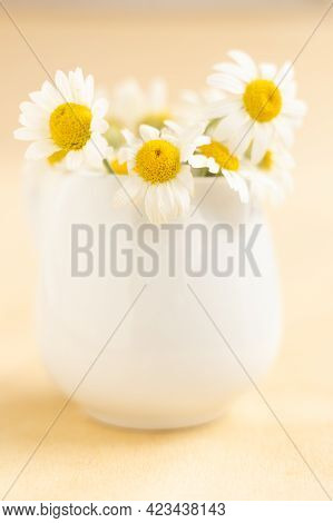 Chamomiles In White Cup On Wooden Table. Herbal Tea. Side View.vertical Photo