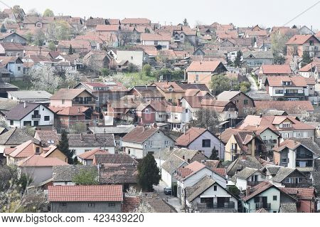 Houses And Residential Buildings On Hill In Sremski Karlovci In Serbia.
