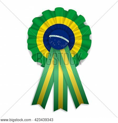 Brazilian Isolated Cockade. Green, Yellow And Blue Cockade. Brazil Rosette With Ribbons