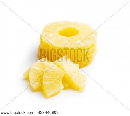 Canned sliced pineapple fruit isolated on white background.