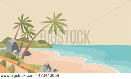 Sandy Tropical Beach Vector Flat Illustration. Uninhabited Desert Island With Blue Sea And White San