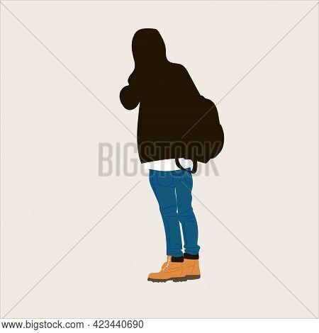 Vector Illustration Of Kpop Street Fashion. Street Idols Of Koreans. Kpop Male Fashion Idol. A Guy I