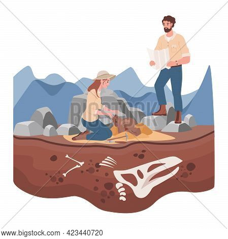 Man And Woman Scientists In History Expedition Vector Flat Illustration. Archeological Excavation Co