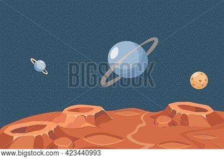 Red Planet Or Moon Surface Vector Flat Illustration. Outer Space With Saturn, Neptune, Planets, And