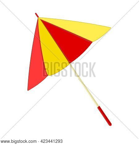 Umbrella Isolated On White Background. Parasol Icon. Yellow And Red Sunshade For Beach. Cocktail Umb